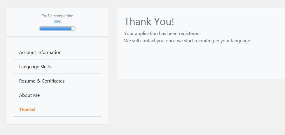 Application registered.
